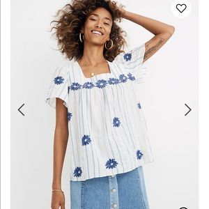 Madewell Floral Embroidered Butterfly top